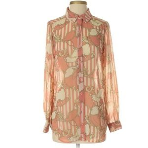 F21 • Coral & White Printed Blouse